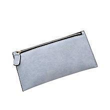 Women Solid Color Long Zipper Purse -Light Blue