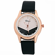 Watch Woman Fashion Leather Band Analog Quartz Round Wrist Watch Watches-Black