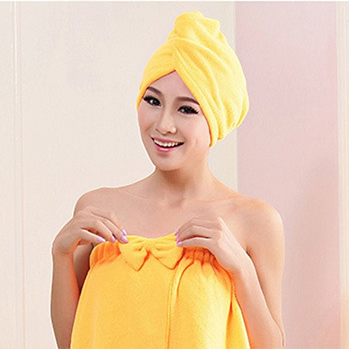 56fd0f4c68a ... Home-Superfine Fiber Bath Strong Absorbing Quick Dry Hair Hat Shower Cap  Yellow ...