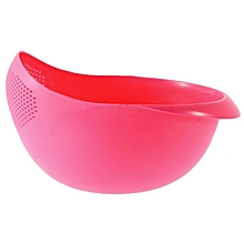 Practical Plastic Rice Wash Colander Strainer Sieve Drain Basket Kitchen Tool-Pink