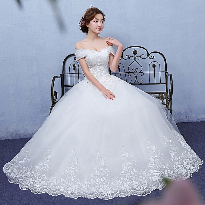 63095a7c7704 AFankara Lace up Back Off Shoulder Wedding Gown-White @ Best Price ...