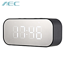 Portable Alarm Clock Wireless Bluetooth Stereo Speaker - Black