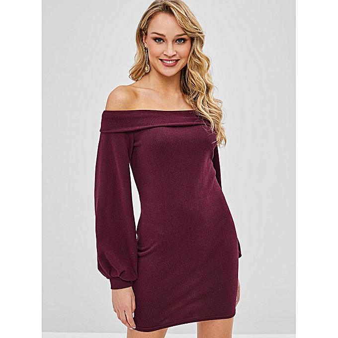 56b9b4d9b6b4 ZAFUL Long Sleeve Off Shoulder Tight Dress
