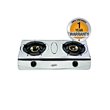 MGS2402 - Gas Stove, Double Burner, Stainless Steel Body - Silver