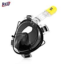 RKD Anti Fog Detachable Dry Snorkeling Full Face Mask Set_BLACK_L