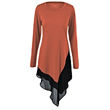 Chiffon Trim Asymmetrical Long Blouse - Laterite