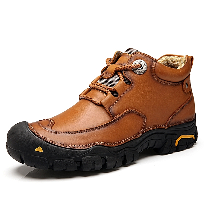 Generic Men Casual Fashion Leather Hiking Work Shoes Boots Brown