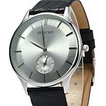 Male Ultrathin Analog Quartz Watch Leather Band-BLACK SILVER WHITE