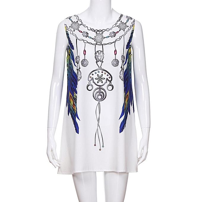 7e4462c41f958 ... Xiuxingzi Women Loose Summer Vintage Sleeveless 3D Print Bohemia Tank  Short Mini Dress ...