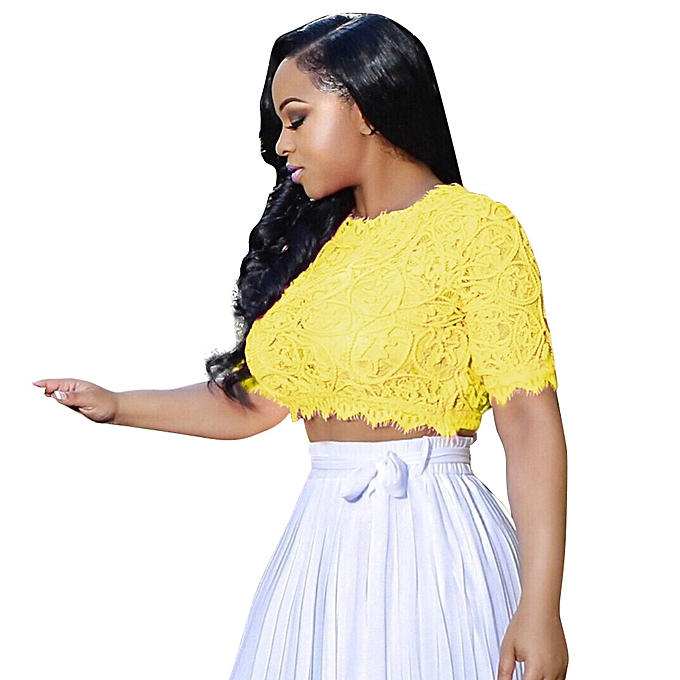 Fashion Women Ruffle Short Sleeve See Through Mesh Lace Crochet Crop