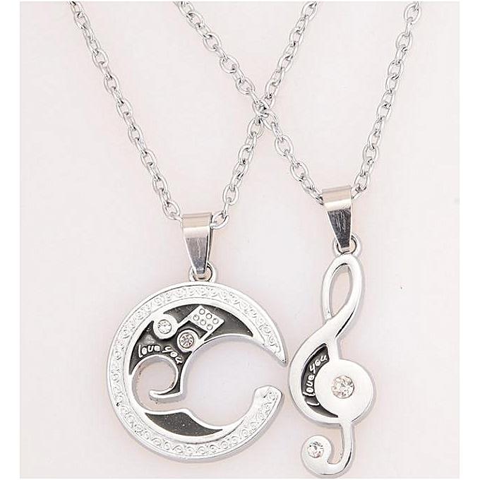 ca035731dd 2Pcs Men Women Lover Couple Necklace I Love You Heart Shape Pendant Chain  Jewel