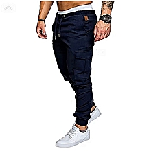 Navy Blue Men's Cargo Pant-Stylish Pocketed