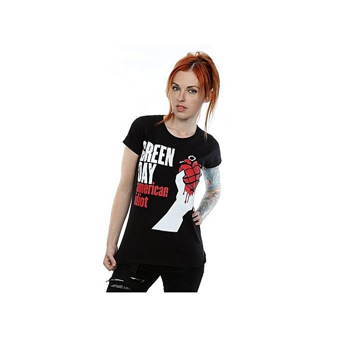 0f60b7f7eed2 Women's Cotton Funny T Shirt Green Day Women's American Idiot T-Shirt Size:  XS