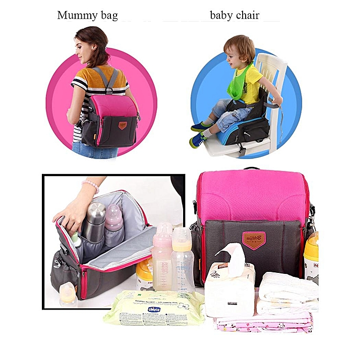 Blue Multi Function Mummy Bag Travel Booster Seat Diaper Backpack For Baby