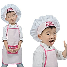 Junior Chef Polyester Kids Apron And Chef Hat Child Cooking Baby Apron Avental De Cozinha Divertido Pinafore Apron Pink