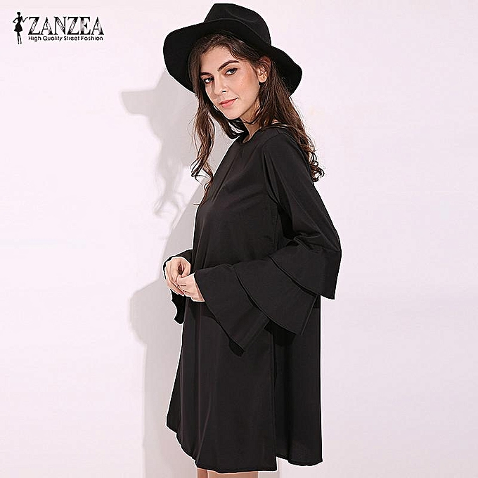 87970eb0558 ... ZANZEA Elegant Womens Flared Long Sleeve Mini Dress Casual Loose Ladies  Solid Party Straight Shift Dress ...