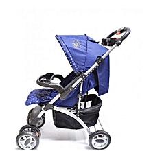 Superior 3 in 1 baby stroller set- Blue & White Polka dots