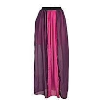 Purple And Pink Slit Chiffon Maxi Skirt