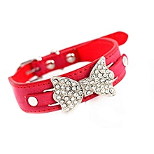 Dog Collar Bling Crystal With Leather Bow Necklace Pet Puppy Cat RD/XS