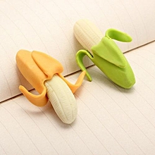 2pcs Lovely Banana Fruit Style Rubber Pencil Eraser Office Stationery Gift Toy