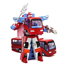 New Variable Robot Bus Transform Figure Toddler Model Educational Toy Kids Gift #red