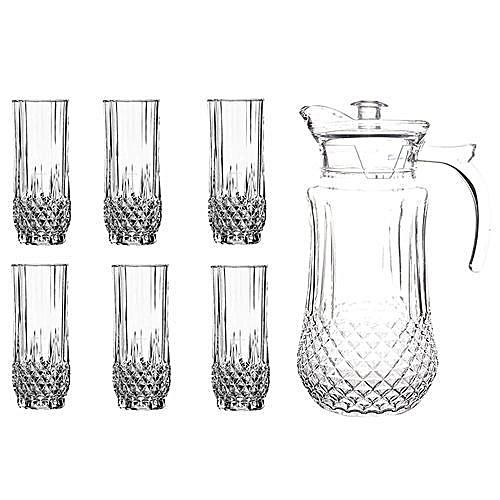 7 pcs glass set with 6 glasses and 1 jug