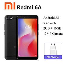 Xiaomi Redmi 6A, 4G - 16GB+2GB RAM - Face Identification 5.45 inch - 13 MP Camera Dual SIM (Black)