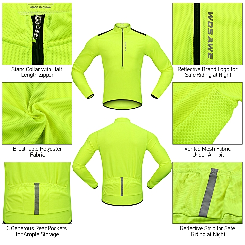 a55be1e1f Generic Wosawe Men s Cycling Jersey Spring Autumn Half-zip MTB Bike Riding  Long Sleeve Shirt Clothing