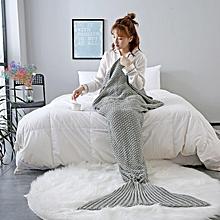 Knitted Handmade Mermaid Tail Blankets Yarn Crochet Mermaid Blanket Kids Throw Wrap Super Soft Sl 140x60cm
