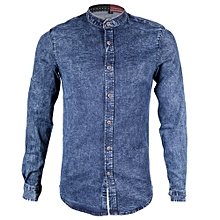 Denim Chinese Casual Shirt - Slim Fit