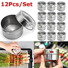 12Pcs Stainless Steel Magnetic Spice Tin Storage Container Jar Clear Lid Kitchen