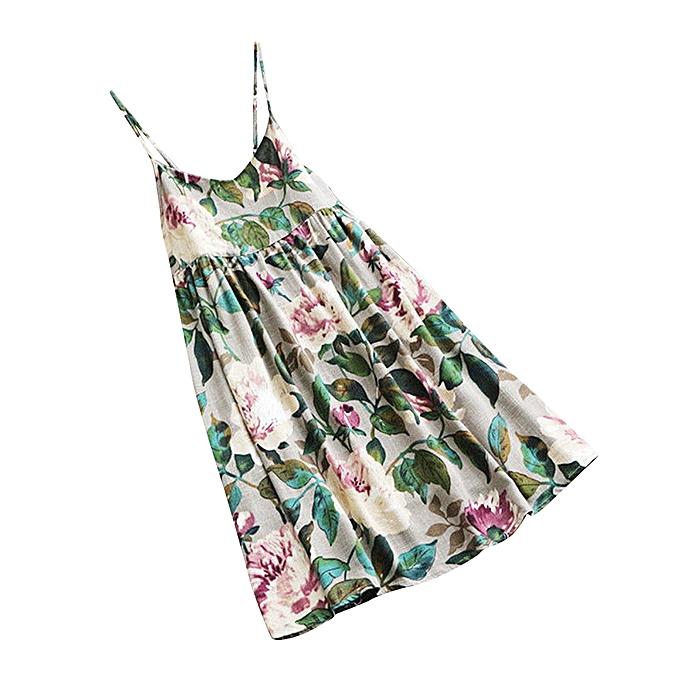 9fc1fc5b042d Hiaojbk Store Women Lady Floral Print Summer Party Sleeveless Vest Plus  Size Beach Mini Dress-