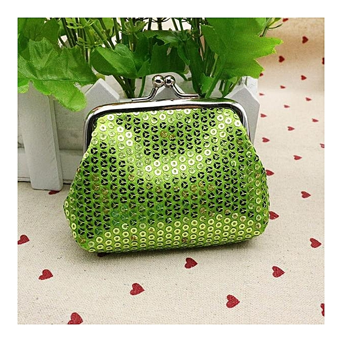 Bluerdream Womens Small Sequin Wallet Card Holder Coin Purse Clutch Handbag Bag Green