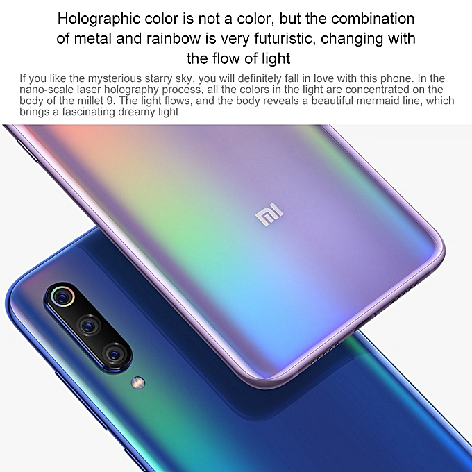 (Xiaomi) 9, 6GB+128GB, 6 39 Inch Water-drop Screen MIUI 10, 48MP Triple  Rear Cameras, Global Official Version - Blue