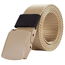 Military Style Outdoor Sports Nylon Canvas Belts For Men And Women Casual Waist Belt Color:Khaki 02