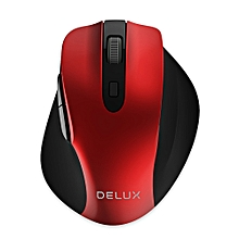 Delux M517GX 2.4GHz Wireless Optical Mouse Adjustable DPI for Office Game - RED