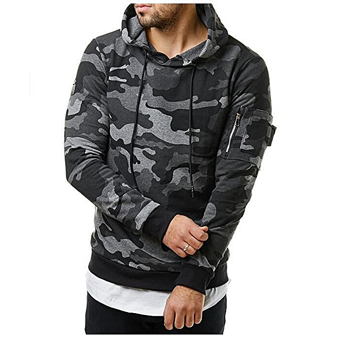 Generic Fashion camouflage hooded men s casual slim velvet sweater ... dd17eac232