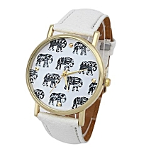 Tectores 2018 Fashion Multifunction Girl Elephant Pattern Faux Leather Band Analog Quartz Dial Watch WH