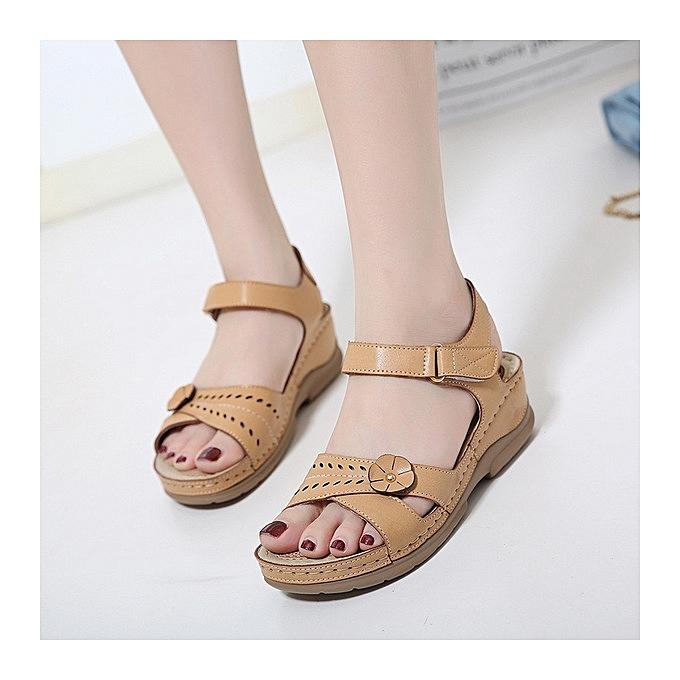 7b66d8f7982e67 ... Rifined Women Sandals Vintage Ladies Flat Sandals Solid Color Flower  Design Flip Flop Female Casual Sandals ...