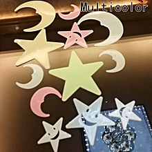 Hequeen 100pcs Wall Stickers Decal Glow In The Dark Baby Kids Bedroom Home Decor Color Stars Moon  Luminous Fluorescent Wall Stickers Decal