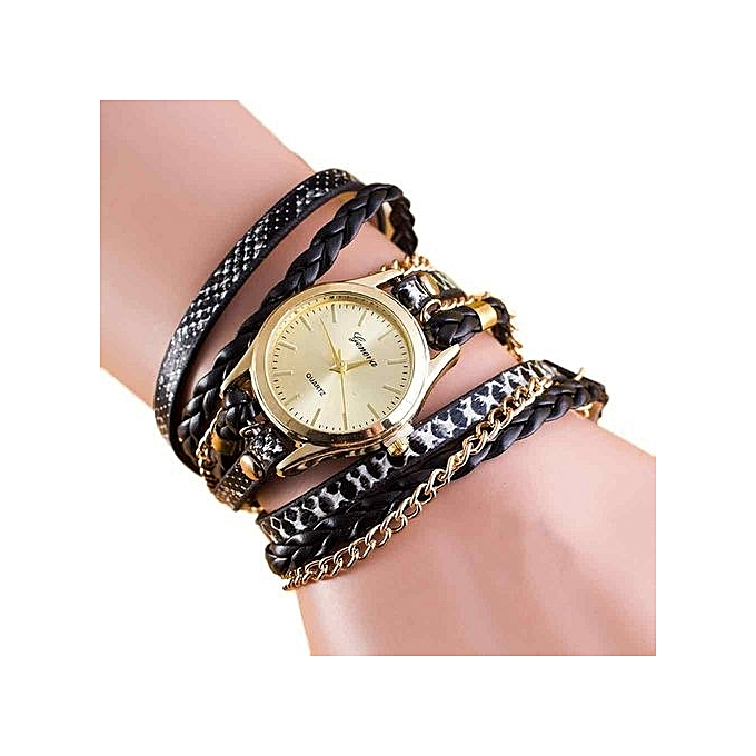 New Fashion Wrap Around Bracelet Watch Synthetic Leather Chain