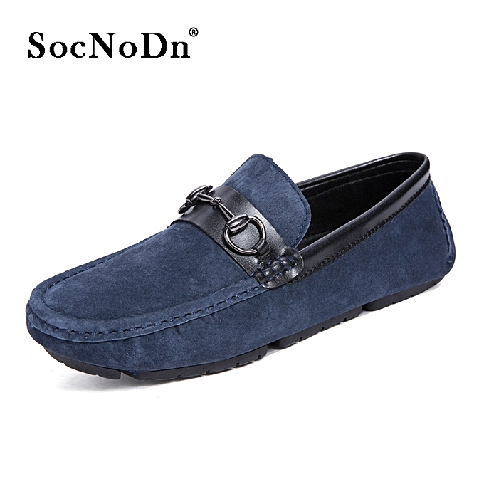 2482fe42c4d SocNoDn Men Fashion Casual Leather Driving Loafers Flat Shoes Blue ...