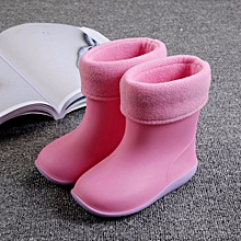 Waterproof Child Soild Rubber Warm Infant Baby Rain Boots Kids Rain Shoes- Pink