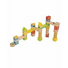 Wooden Childrens 32 Piece Marble Run Construction Building Blocks