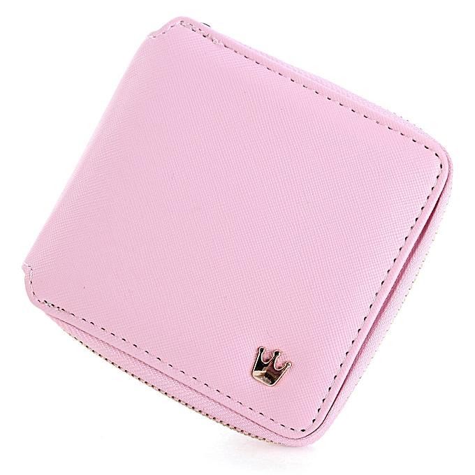 Women Lady Crown Purse Leather Short Wallet Clutch Card Holder Handbag Coin  Bag Pink c07078de15bc0
