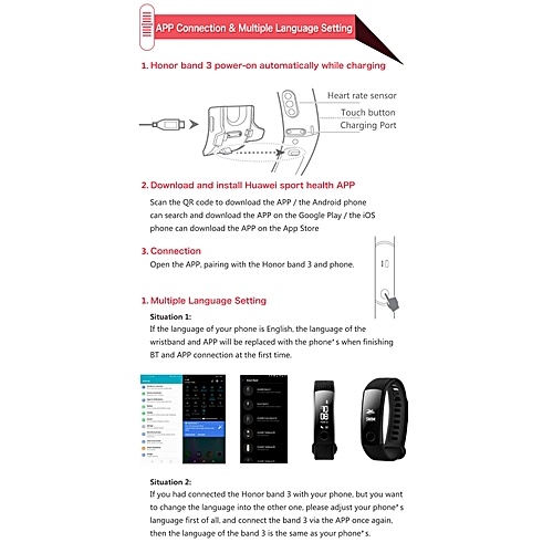 Huawei Honor Band 3 Smart Sports Wristband Bracelet Swimmable 5ATM Heart  Rate Monitor Calories Consumption Pedometer
