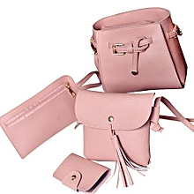bluerdream-Women Four Set Fashion Handbag Shoulder Bag Four Pieces Tote Bag Crossbody Wallt- Pink