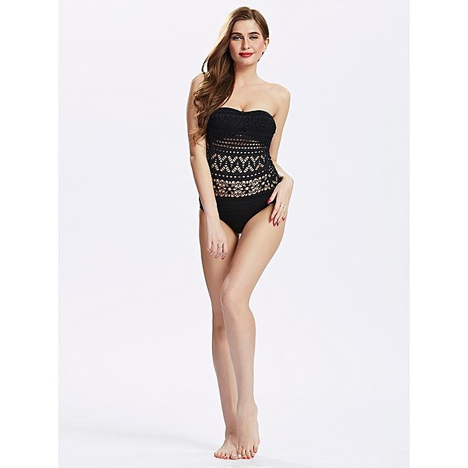 60c9788200 ... Crochet One Piece Swimsuit Black Backless Siamese Swimsuit For Women ...
