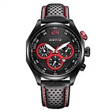 93013 Man Sports Fashion Quartz Watch Casual Genuine Leather Watches Date Calendar Military Mens Wristwatch - Red