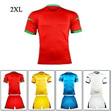 Super Bargain 2XL Size Short-sleeve Football Uniform Football Training Suit Team Jersey - Red
